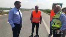 """Министър Нанков инспектира строителството на магистрала """"Тракия"""" (СНИМКИ)"""