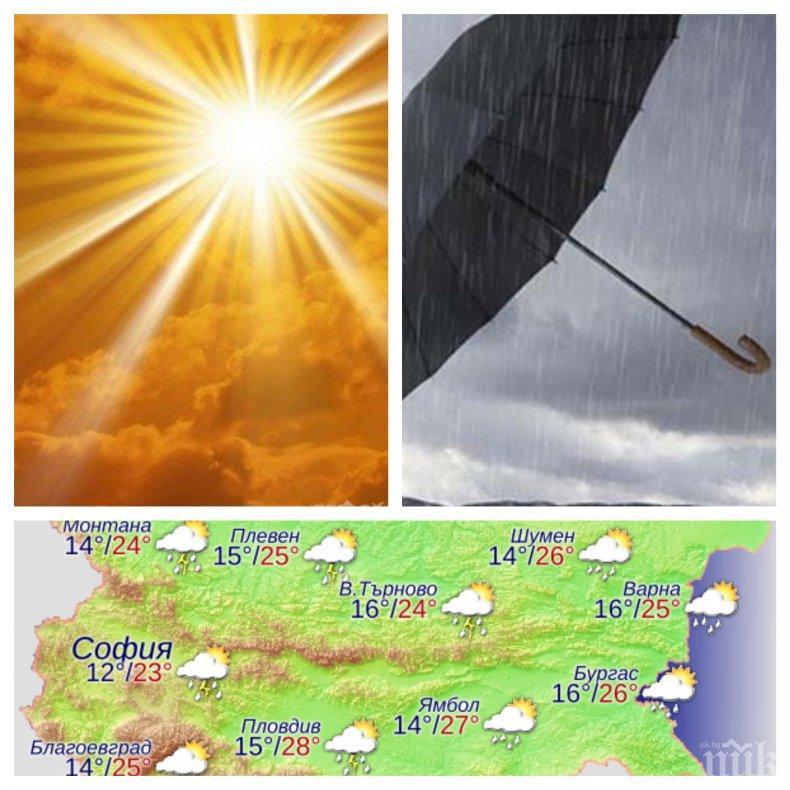 НЕ ИЗЛИЗАЙТЕ БЕЗ ЧАДЪР! И днес слънцето ще се редува с гръмотевици и дъжд