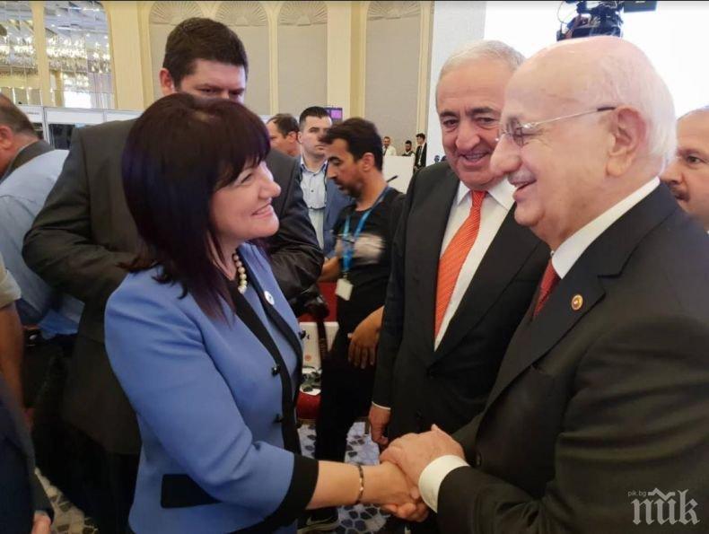 Председателят на парламента Караянчева от Истанбул: Европа трябва да има силно присъствие в Черноморския регион