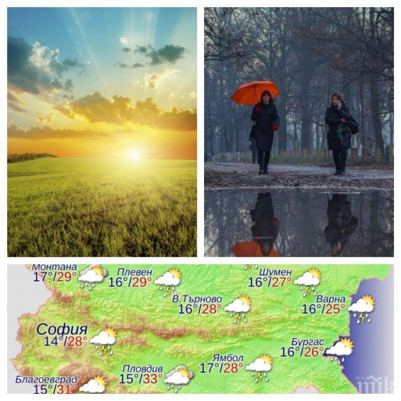 Седмицата започва със слънце, облаци и малко дъжд