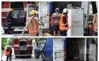 Бус с хладилници пламна пред полицията в Хасково (СНИМКИ)