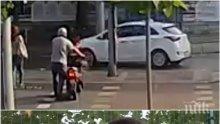 ШОКИРАЩО ВИДЕО: Ето как кола помете и потроши брутално жена на пешеходна пътека в Пловдив!