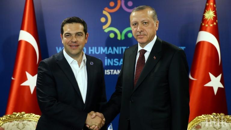 Ердоган успял да изпоти Ципрас по време на срещата им