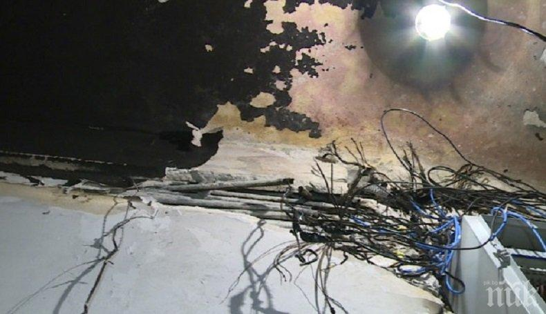 ИЗВЪНРЕДНО! Табло с електромери подпали блок в центъра на София (СНИМКИ)