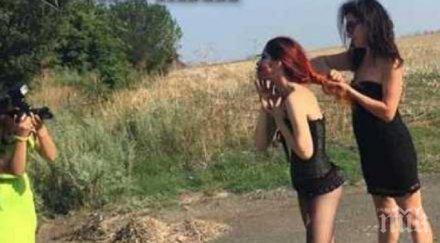 Шоу на входа на Бургас: Полуголи красавици си правят еротична фотосесия, майки-пуританки – потресени (СНИМКИ)