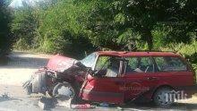 Ад на пътя! Кола се заби в камион на главен път Е-79
