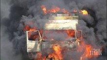 """ОГНЕН АД! Камион се запали на автомагистрала """"Хемус"""""""