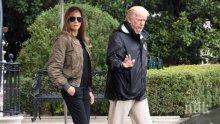 Доналд Тръмп и Мелания посетиха пострадали от урагана Майкъл райони