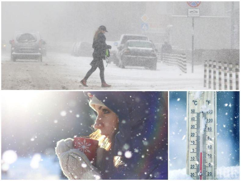 СТУДЪТ НАСТЪПВА С ПЪЛНА СИЛА: Сняг и студен вятър ще обхванат цялата страна, температурите ще паднат до минус 8 градуса
