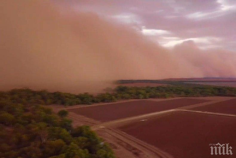 Силна пясъчна буря връхлетя щат в Австралия (ВИДЕО)
