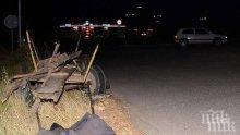 Хонда натресе каруца, водачът и бере душа, конят убит