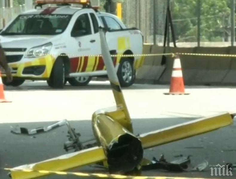 Хеликоптер се разби в камион на магистрала в Сао Пауло