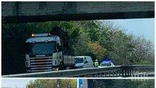ОТ ПОСЛЕДНИТЕ МИНУТИ: Камион с кран се заклещи под надлеза за Черноморец