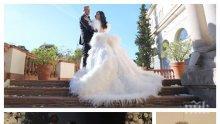 КАТО В ХОЛИВУД: 10 шаферки носят 11-метровия воял на роклята на Цеци Красимирова (УНИКАЛНО ВИДЕО)