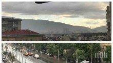 Буря в София! Гърми и трещи, лее се проливен дъжд