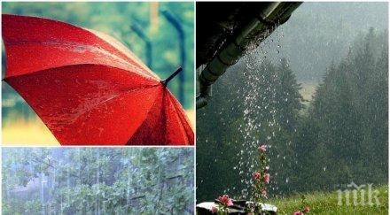 ВРЕМЕТО ПОЛУДЯ: Силен дъжд, гръмотевични бури и градушки! Ето къде удрят най-силно (КАРТА)