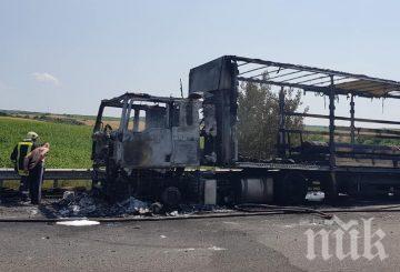 """ОГНЕН АД: ТИР изгоря на магистрала """"Марица"""""""