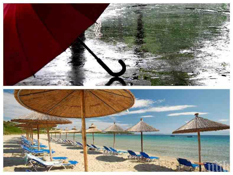 ЛУДО ВРЕМЕ: Гръмотевиците и дъждът не отстъпват, термометърът скача до 33 градуса