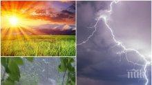ВРЕМЕТО ПОЛУДЯ: Редуват се слънце, жега и дъжд
