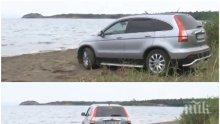 """ПОРЕДЕН ГАНЬО С ДЖИП НА ПЛАЖА: Този път на пясъка на Вромос. Вижте """"хубавеца"""" (СНИМКИ)"""