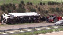 Пиян катурна камион с жито край Плевен