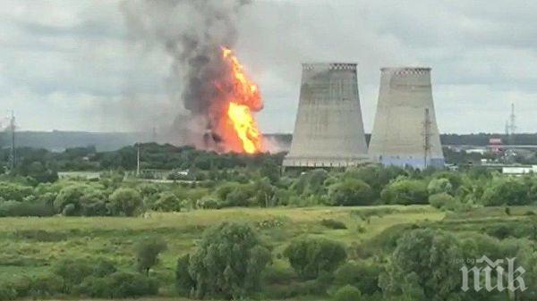Огромен пожар бушува на територията на руска ТЕЦ (ВИДЕО)