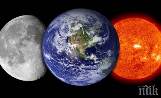ФЕНОМЕН: Слънцето, Земята и Луната правят линия