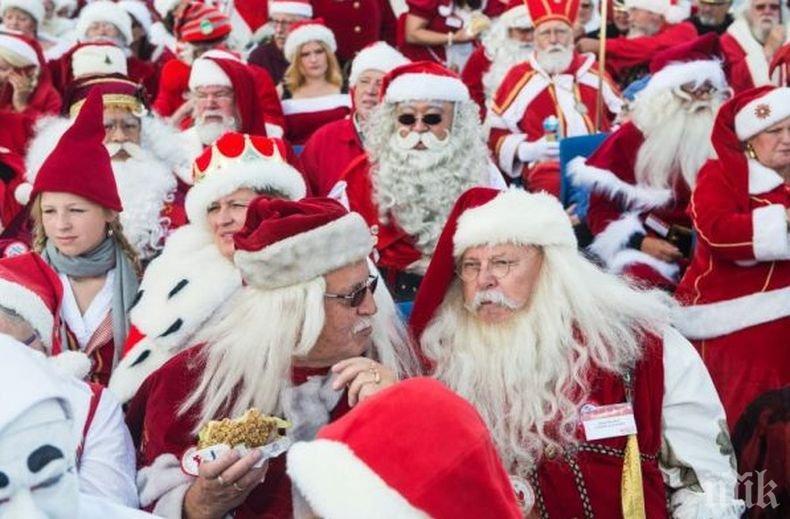 Дядо Коледа през лятото: Стотици белобради старци се събраха в Дания на традиционна среща