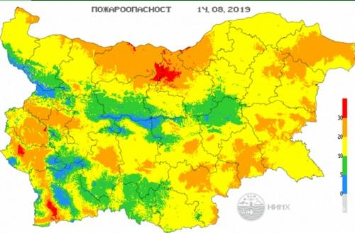 ВАЖНО: Екстремен индекс за пожароопасност е в сила за 7 области (КАРТА)