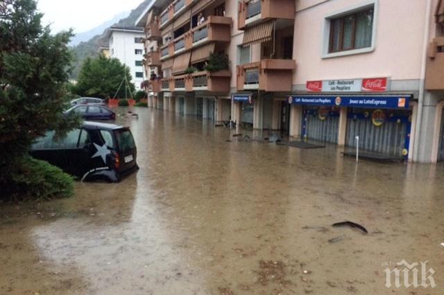 Швейцарските власти издирват млад мъж и дете след наводнения