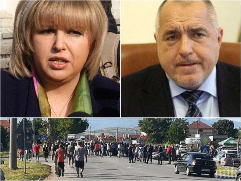 СКАНДАЛ: Рекетьорка на Борисов блокира с 5 човека движението в Сливен - хората на Мария Капон бунят протестите и мамят със сигнали за животински отпадъци