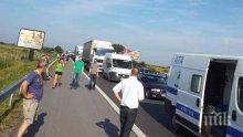 """Катастрофа предизвика километрично задръстване на магистрала """"Тракия"""""""