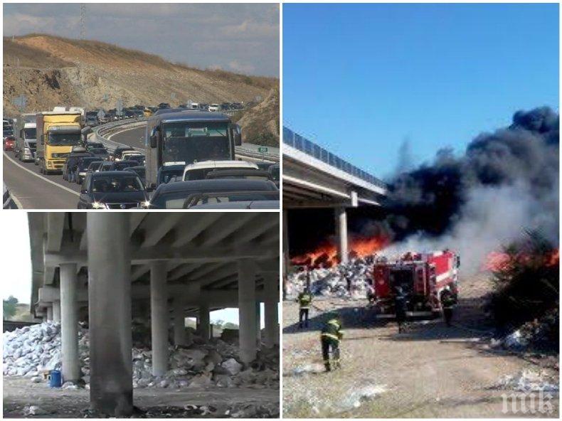ПЪРВО В ПИК: На магистрала Струма е страшно - километрично задръстване блокира трафика, обходните маршрути в ремонт подлудиха шофьорите (СНИМКА)