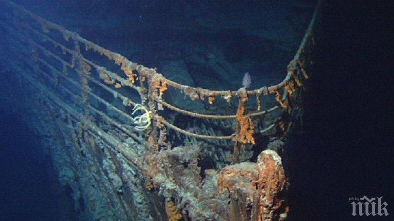 """УНИКАЛНО ВИДЕО: Вижте как изглежда митичният """"Титаник"""" в момента! Подводница се спусна на 3800 м дълбочина в Атлантическия океан до останките на потъналия кораб"""