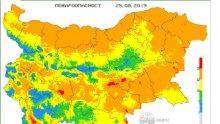 В 10 области има риск от пожари (КАРТА)