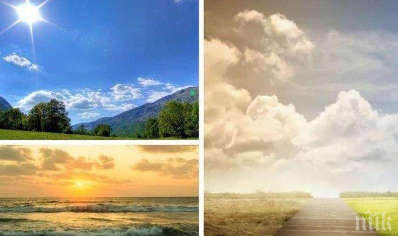ЩЕДРО СЛЪНЦЕ: Остава топло, с временни увеличения на облачността и почти без валежи (КАРТА)