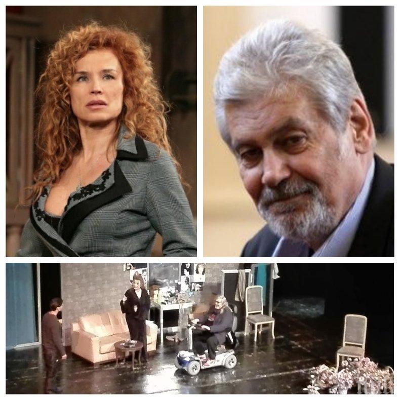 ДВЕ СЕДМИЦИ ПО-КЪСНО: Оперираният Ламбо пърпори с количката на сцената в Русе - актьорът призна за любовни авантюри с местни хубавици