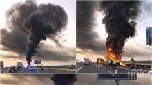 """ИЗВЪНРЕДНО: ТИР с гуми пламна на """"Тракия"""" - затвориха магистралата, тапата е огромна (СНИМКИ)"""