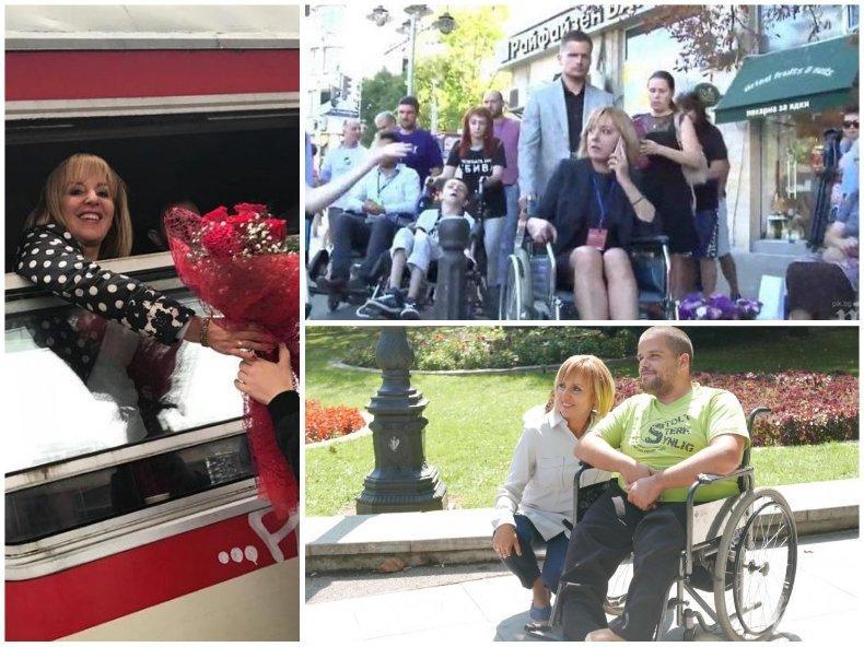 Мая Манолова се снимала с децата с увреждания и избягала без да им помогне за придвижването из София (СНИМКА)