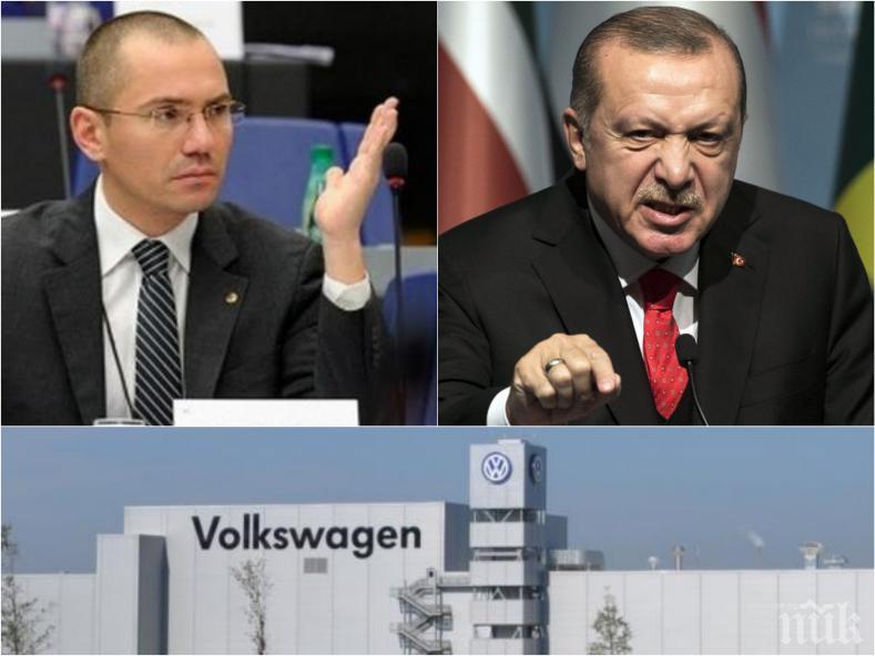 """ПЪРВО В ПИК: Ангел Джамбазки изригна към ЕС: Не допускайте с парите от Европа и завода на """"Фолксваген"""" да се финансира режима на Ердоган"""