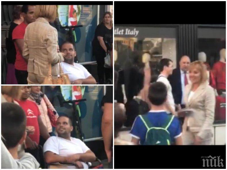 БЕЗСКРУПУЛНА: Мая Манолова си прави пиар с инвалиди и деца - снима столичани за кампанията си без разрешение (ВИДЕО/СНИМКИ)