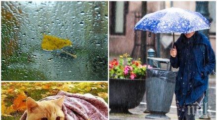 СВЪРШИ ХУБАВОТО ВРЕМЕ: Вадете чадърите, студът нахлува с дъжд и вятър (КАРТА)