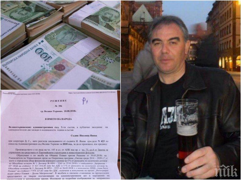 СПАРТАНСКИ УЛИЧЕН В КОРУПЦИЯ. Кметът на Костов раздал десетки милиони в нарушение на закона. Плевен глобен 1 200 000. Ще се самосезира ли прокуратурата (ДОКУМЕНТИ)