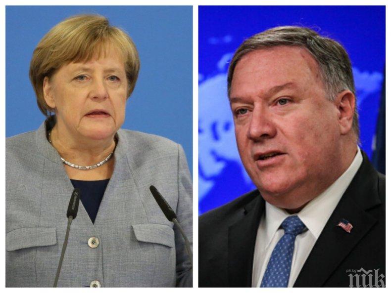 Майк Помпео и Ангела Меркел обсъдиха глобалните предизвикателства пред Германия и САЩ