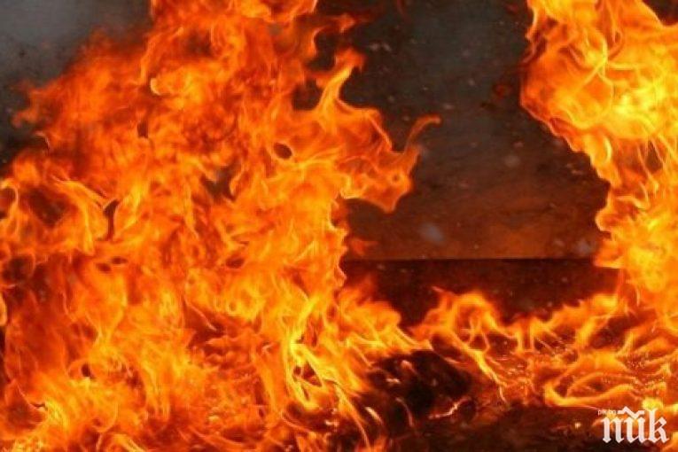 Кола изгоря като факла в монтанско село