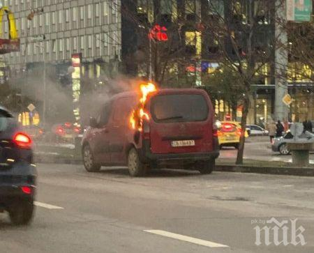 ИНЦИДЕНТ В СОФИЯ: Кола се запали в движение на главен булевард
