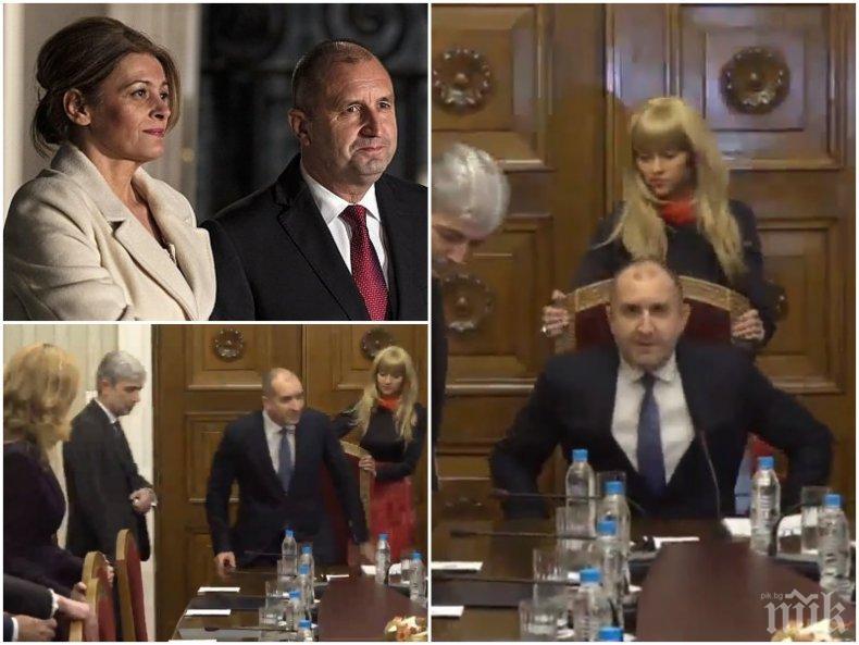 ГОРЕЩО В ПИК: Дългокрака блондинка на сантиметри от Румен Радев шашна министри и съветници в президентството - къде е генерал Деси? (СНИМКИ/ВИДЕО)