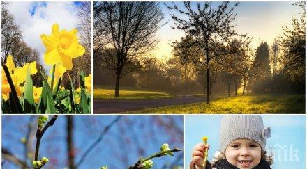 истинска пролет щедро слънце живакът стига градуса неделя зимата завръща