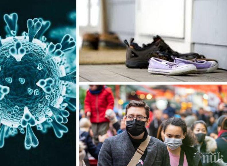 Експерти съветват: Оставяйте обувките си пред вратата, защото коронавирусът може да оцелее върху тях...