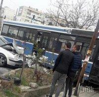 Шофьорка се натресе в автобус при маневра на кръстовище в Пловдив